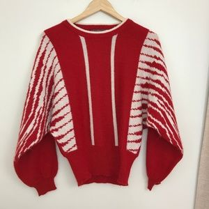 Vintage Batwing Red and White Sweater